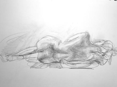 Reclining nude with Bun
